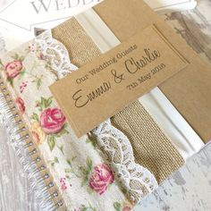 Rustic Kraft Wedding Guest Book with Hessian/Burlap Rose Ribbon & Lace Handmade - Page Options