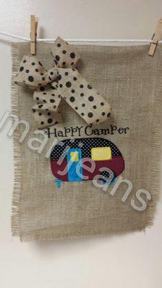 Burlap Flag, Burlap Garden Flag,  Happy Camper Flag, Camper by Marijeans on Etsy