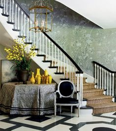 Green DeGournay paper, big brass latern, black and white floor -- Mary McDonald
