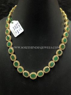Simple+Gold+CZ+Emerald+Necklace
