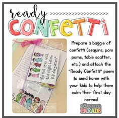 """Ready Confetti!""  for the 1st Day of School!  Adorable :)"