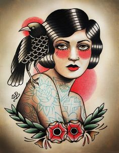 Tattoo flash of an old school style flapper girl.