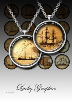 Digital Collage Sheet - Old ships - Printable images for resin jewelry, buttons and magnet crafts. Printable download - 13