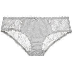 Belabumbum Daisy Pima & Lace Girlshort ($29) ❤ liked on Polyvore featuring intimates, panties, heather grey, lace lingerie, sheer lingerie, floral lingerie, lacy lingerie and see through lingerie