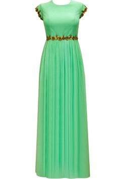 Sea green floral sequins embroidered gown by Pranthi Reddy. Shop now: http://www.perniaspopupshop.com/designers/pranthi-reddy #gown #pranthireddy #shopnow #perniaspopupshop