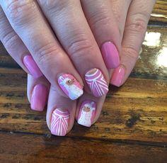 cute llama nail art by Buddah Nails on IG pink and white