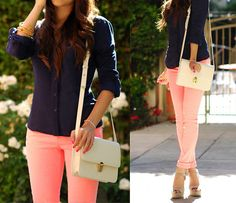 coral or pink + navy.
