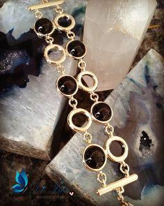 Pulseira banhada a Ouro 18k com Pedras Naturais Obsediana Negra - www.diisis.com.br  #diisisjoias #semijoias #ouro #beleza #pulseiras #jewlery #instagood #exclusividade