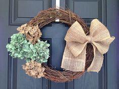 Grape Vine and Hydrangea Wreath with Burlap Bow