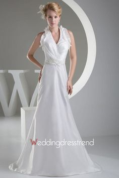 Beautiful Sweet Beading Chapel Train Satin Beach Wedding Dress - Shop Online for Cheap Wedding Dresses