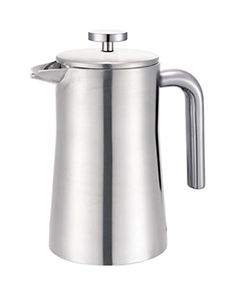 Francois et Mimi Brushed Finish Stainless Steel Double Wall French Coffee Press French Coffee, French Press Coffee Maker, Top Rated Coffee Makers, Stainless Steel Coffee Maker, Wine Decanter Set, Electric Wine Opener, Wine Bottle Opener, No Plastic, Coffee Shop
