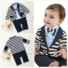 Baby Boy Wedding Christening Formal Suit Tuxedo Romper Outfit NEWBORN 0-24M  in Baby fe9e900551