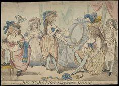 "Rowlandson print published April 24, 1789 ""Restoration Dressing Room"".  How fun!"