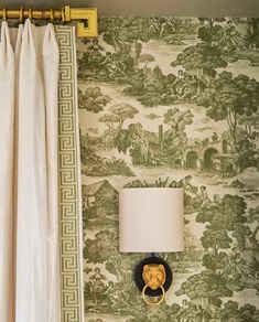 Green toile and greek key, San Francisco interior designer Benjamin Dhong Window Coverings, Window Treatments, Interior Decorating, Interior Design, Design Design, Up House, Curtains With Blinds, Drapery Panels, Burlap Curtains