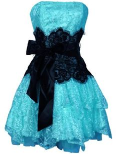 .blue dress and black lace <3