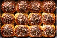 Everything Parker House Rolls Recipe - NYT Cooking Cakes By Melissa, Quick Biscuits, Bagel Toppings, Parker House Rolls, Whiskey Cake, Baked Rolls, Everything Bagel, Instant Yeast, Rolls Recipe