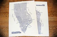 Axis Maps:  Manhattan Set (Blue) letter press