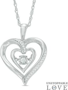 Zales Amethyst and 1/6 CT. T.w. Diamond Double Heart Pendant in Sterling Silver oFy8wi