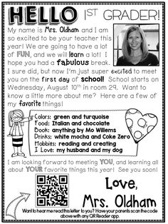 Great idea for a Welcome Letter including a QR code that links to your voice reading the letter to your new students.
