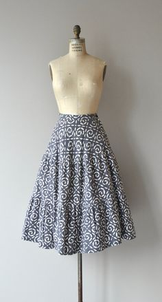 Vintage 1950s gray cotton skirt with broken swirl print, three subtle tiers and metal zipper. --- M E A S U R E M E N T S ---  fits like: small waist: