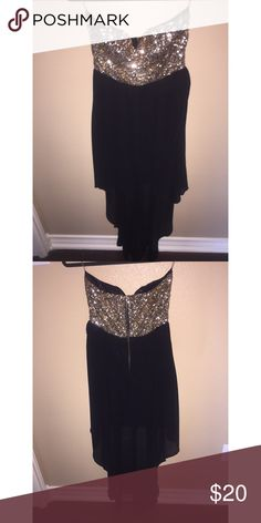 Gorgeous high low strapless dress A'GACI high low strapless dress with sequence accents. Never worn but don't have tags! Agaci Dresses High Low