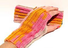 Rib-it Fingerless Gloves - free crochet pattern by Melinda Abodeely