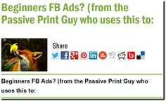 Beginners FB Ads? (from the Passive Print Guy who uses this to: