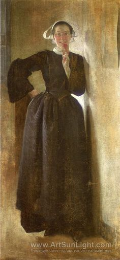 'Josephine, the Breton Maid', 1892 by John White Alexander, American  Symbolist Painter and illustrator 1856-1915.