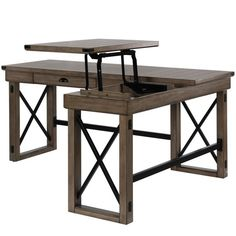 Laurel Foundry Modern Farmhouse Gladstone L-Shape Standing Desk It is required to be manually pulled up to the desired height Home Office Space, Home Office Design, Home Office Decor, Office Setup, Small Office, Office Layouts, Diy Office Desk, Family Office, Ikea Office