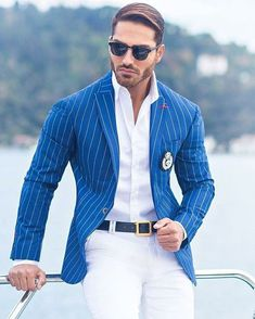 Sport outfit with blue plaid suit jacket Blazer Outfits Men, Sport Outfits, Mens Fashion Suits, Mens Suits, Suit Men, Blue Plaid Suit, Blue Suit Jacket, Best Business Casual Outfits, Best Street Style
