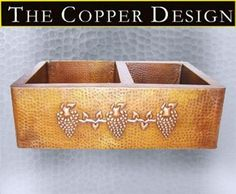 "Copper Apron Farmhouse Sink Grape Design  60/40 33""x22"""