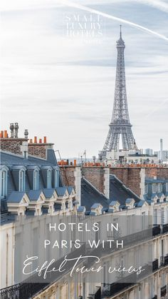 Finding hotels in Paris with Eiffel Tower views as well as perfect service and beautiful rooms can be tricky. Fortunately we know exactly where to look. Take a look at our hotels in Paris with Eiffel Tower views. Small Luxury Hotels, Paris Hotels, Paris France, Paris Skyline, Tower, Rooms, World, Travel, Beautiful