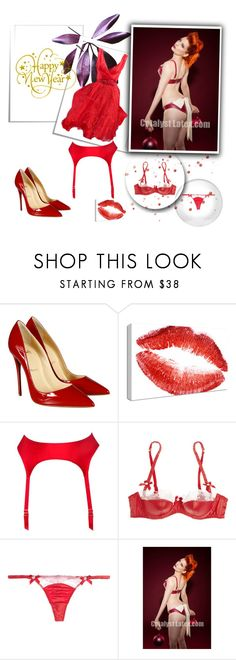 """happy new year"" by smile-2528 ❤ liked on Polyvore featuring Christian Louboutin, Agent Provocateur, L'Agent By Agent Provocateur and Oscar de la Renta"