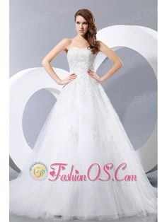 Simple Wedding Dress A-line Sweetheart Chapel Train Taffeta and Tulle  http://www.fashionos.com  http://www.facebook.com/fashionos.us  Adorn your special day with this dreamy wedding gown.This sweetheart dress features a layer of lace enriches the bodice to the waist, then drizzles midway down the lovely layered skirt, which bells to a graceful, floor-brushing flurry.A zipper up back completes it's look.The tulle fabric add the smooth and sassy look to the dress.