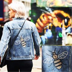 Our Swarovski crystal bee 🐝 denim jacket was a bespoke commission and had almost 500 genuine Swarovski crystals hand applied #disegnomio #dmio #sparkle #staysparkly #beedesign #crystalbee #denimjacket #bespokedesign #bespokedenim #handmade #Swarovski #customisation #customjackets #custommade #customjacket #customdenimjacket #customdenim