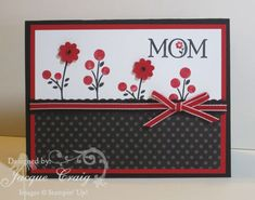 This bright DIY Mother's Day card is sure to brighten up mom's day!  The 2 large flowers look like buttons but are really just paper-punched flowers!