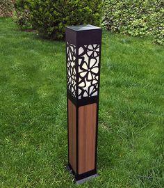 'Field of Flowers' Wood textured Aluminum Outdoor Lighting Bollard - 'Kır Çiçekleri' desenli Ahşaplı Bahçe Aydınlatması