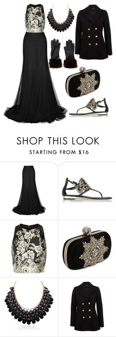 """""""Fashion Black Dress & Glam 2016"""" by diamondanna ❤ liked on Polyvore featuring René Caovilla, Alice + Olivia, Alexander McQueen, Morgan and Fownes Brothers"""