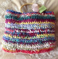 Fabric strip crochet purses