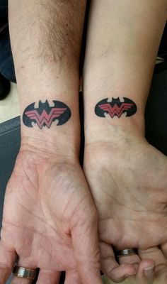 Matching Batman & Wonder Woman tattoos -- Matching Tattoos -- Husband and wife tattoos -- Couples tattoo