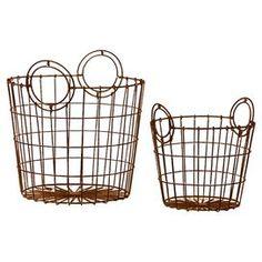 Found it at Wayfair - 2 Piece French Market Bag Replica Metallic Wire Mesh Basket Set