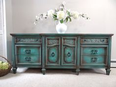 RESERVED For Anthony - Vintage Thomasville Hand Painted French Country Cottage Chic Turquoise / Teal Blue Dresser / Console Cabinet on Etsy, $650.00