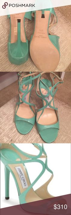 Authentic Jimmy Choo Sandals Authentic Jimmy Choo Aqua Patent Leater Strappy Sandals Size 37 1/2. Never been worn purchased from Saks Fifth Avenue. Jimmy Choo Shoes Sandals