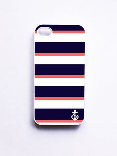 Nautical iPhone 4 Case / iPhone 4S Case - Navy & Coral Stripe with Anchor...i love this so much