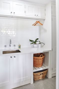 Wouldn't need the hanger overhead but like the tile splash back, cupboard style and having a little nook that's open