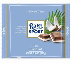 Ritter Sport Milk Chocolate with Coconut, Product of Germany. Ritter Sport Milk Chocolate with Coconut Chocolate Candy Brands, Chocolate Liquor, Chocolate Sweets, German Chocolate, Coconut Chocolate, Egg Ingredients, Coconut Bars, Coconut Milk, Ritter Sport