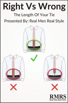 Where should the necktie tip fall?