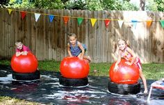 """We love this idea from Beth & Company for a """"Wipeout"""" themed birthday party!"""