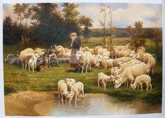 Sheep Paintings - Bing Images Sheep Paintings, Animal Paintings, Illustrations, Illustration Art, Sheep Cards, Lord Is My Shepherd, Painting People, Victorian Art, Country Art