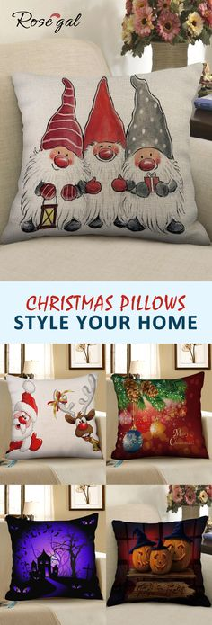 Christmas DIY : Rosegal Christmas and Halloween home decorations pillows Christmas Gnome, Christmas Art, Christmas Projects, Winter Christmas, All Things Christmas, Christmas Ornaments, Christmas Home Decorating, Christmas Bedroom, Christmas Paintings